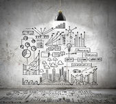 Business sketch on wall — Stockfoto