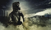 Stalker in gas mask — Stock Photo