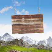 Wooden blank banner — Stock Photo