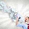 Funny looking woman with megaphone — Stock Photo #29804227
