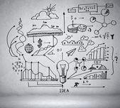 Podnikatelské nápady skica — Stock fotografie