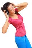 Happy smiling girl dancing — Stockfoto