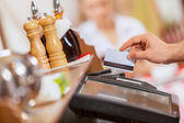 Close-up of cashier hands — Stock Photo
