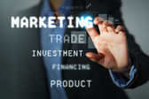 Business man touching display — Stock Photo