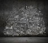 Negócios sketch na parede preta — Foto Stock
