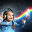 Stock fotografie: Little girl in headphones