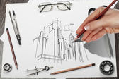 Architectural project — Stock Photo