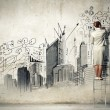 Businesswoman drawing on wall — Foto Stock