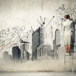 Businesswoman drawing on wall — 图库照片