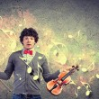Young man violinist — Stockfoto