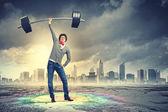 Weight Lifting businessman — Stock Photo
