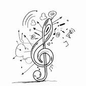 Nota anahtarı simgesini kroki — Stok fotoğraf