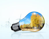 Electric bulb and windmill generators — Stock Photo