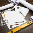 Tools and papers with sketches — Stock Photo #29994675