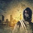 Stock Photo: Stalker in gas mask