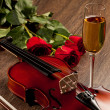 Stock Photo: Red roses and violin