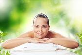 Kız, spa masaj — Stok fotoğraf