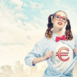 Young  super hero woman — Foto Stock