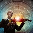 Violinist in business suit — Stock Photo