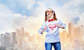 Jonge super held vrouw — Stockfoto
