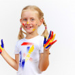 Happy child with paint on the hands — Stock Photo #30240607