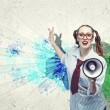 Funny looking woman with megaphone — Stock Photo