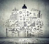 Szkic firmy na ścianie — Zdjęcie stockowe