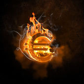 Euro symbol in fire flames — Stock Photo