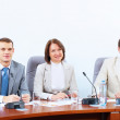Three businesspeople at meeting — Stock Photo
