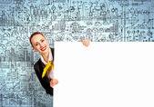 Affärskvinna med Tom banner — Stockfoto