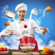 Asifemale cooking with magic — Stock Photo #30808279