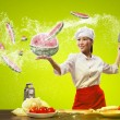Asian female cook with knife — Foto Stock