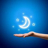 Moon in hands — Stock Photo