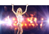 Naked girl with banner — Stock Photo