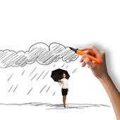 Woman under rain — Stock Photo