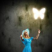 Mujer con globo — Foto de Stock