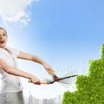 Woman cutting bush — Stock Photo #40686623