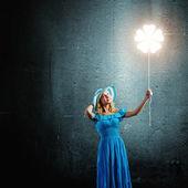 Woman with balloon — Stock Photo
