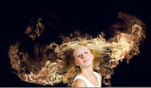 Hair in fire — Stock Photo