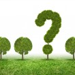 Conceptual image of green plant shaped like question mark — Stock Photo #40694393
