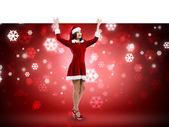 Fille de Santa avec bannière — Photo