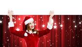 Santa girl with banner — Stock Photo