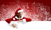 Santa girl with banner — Stock Photo