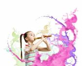 Kid with flute — Stock Photo