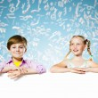 Kids with banner — Stock Photo #41112005