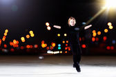 Young boy figure skating — Stock Photo