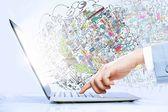Using laptop — Stock Photo