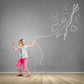 Girl with kite — Stock Photo