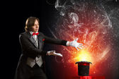Magician with hat — Stock Photo