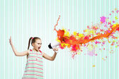 Kid with megaphone — Stock Photo